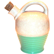 Vintage Cream & Light Green Glazed Pottery Jug