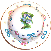 Crown Staffordshire Handpainted China Floral Design Covered Cheese Dish