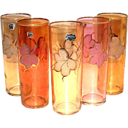 Retro Varzesa Fall Colored & Sparkly Leaf design Collins Glass
