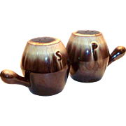 Brown Drip Pottery Single Handles Salt & Pepper Range Set