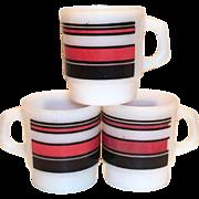 Retro Anchor Hocking & Fire King Red & Black Horizontal Stripe Mug