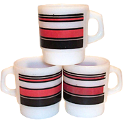 Retro Anchor Hocking & Fire King Red & Black Horizontal Stripe Mug