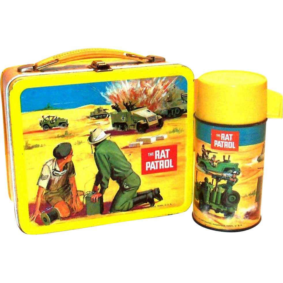 Vintage 1967 The Rat Patrol TV Series Metal Lunch Box & Thermos