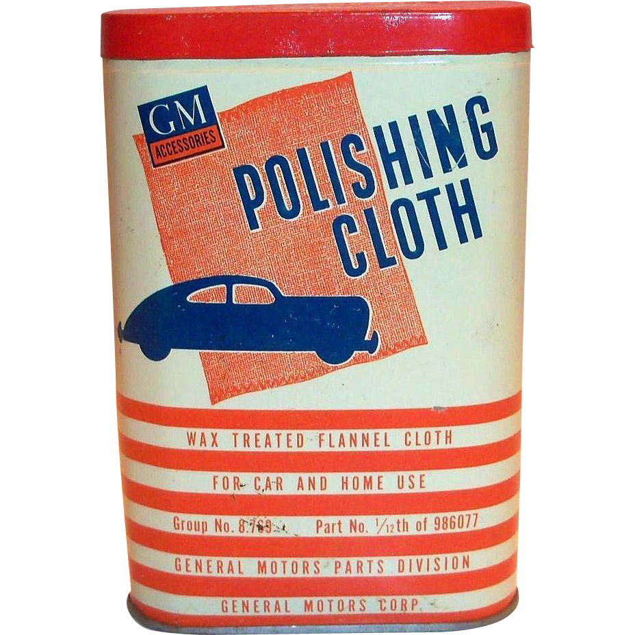 Vintage 1940's GM Accessories Polishing Cloth In Original Tin Container