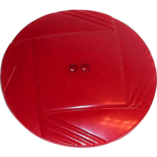 Vintage Larger Art Deco Dark Berry Red Bakelite Button