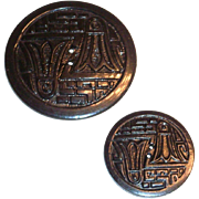 Two Matching Black Oriental Design Plastic Buttons