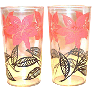 Retro Pink & Black Floral & Leaf Design Ice Tea Glass