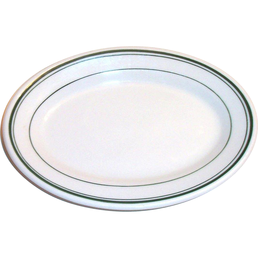 Jackson Vitrified China Restaurantware Green Stripe Trim Individual Oval Plate