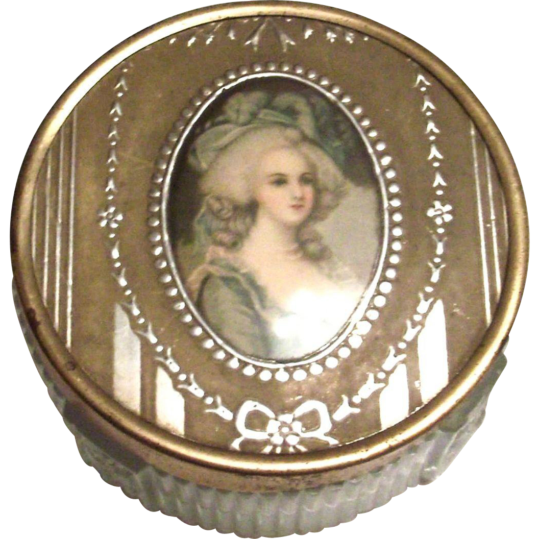 Vintage Renaissance Lady Design Glass Vanity Jar