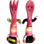 Porcelain Anthropomorphic Spoon & Fork Salt & Pepper Shakers