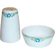 Menhaus Limoges 2 Pc Set of Hand Painted Porcelain Shaker & Matching Salt Cellar