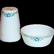 Menhaus Limoges 2 Pc Set of Hand Painted Porcelain Shaker & Matching Salt Cellar
