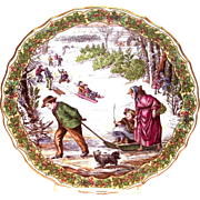 "Spode China: The Victorian Christmas Series: ""Sleighing"" Plate No. 3"