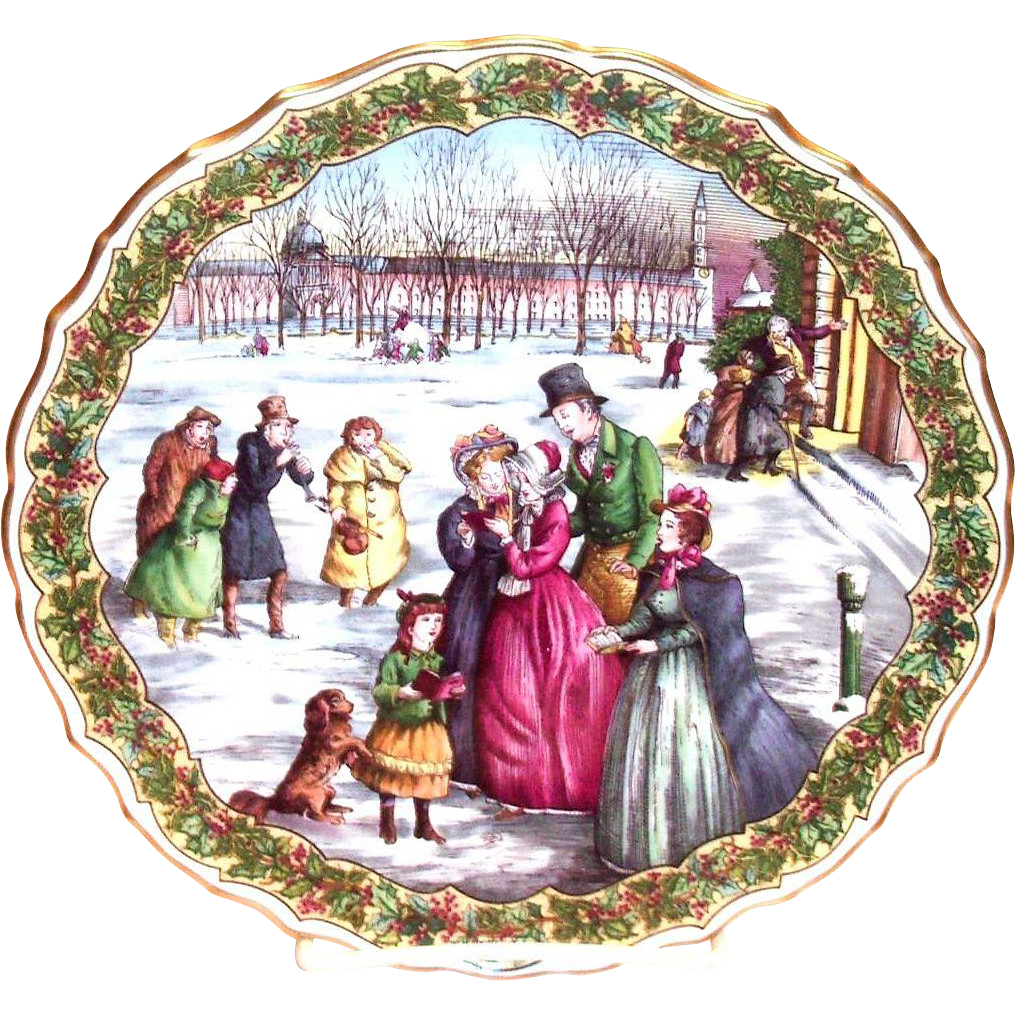 "Spode China: The Victorian Christmas Series: ""The Carol Singers"" Plate No. 5"