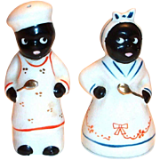 Black Americana: Chef & Mammy Hand Painted Porcelain Shakers