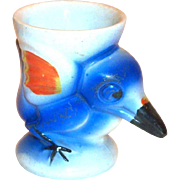 Big Beak Blue Bird Hand Painted Porcelain Egg Cup