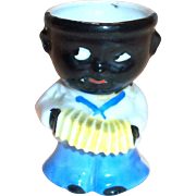 Black Americana Boy With Accordian Egg Cup