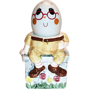 Vintage Enesco Imports Hand Painted Porcelain Humpty Dumpty Egg Cup/Holder & Shaker Figurine Set