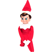 Vintage Christmas Felt Knee Hugger Elf Decoration