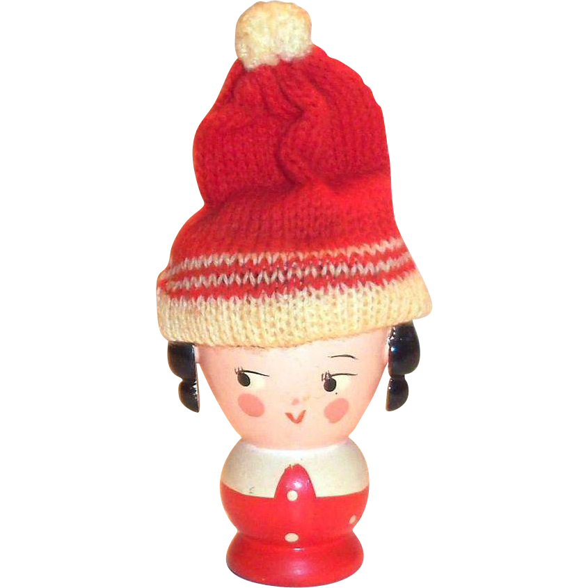 Vintage Sevi Hand Painted Wooden Santa's Little Helper Egg Cup With Knitted Cap