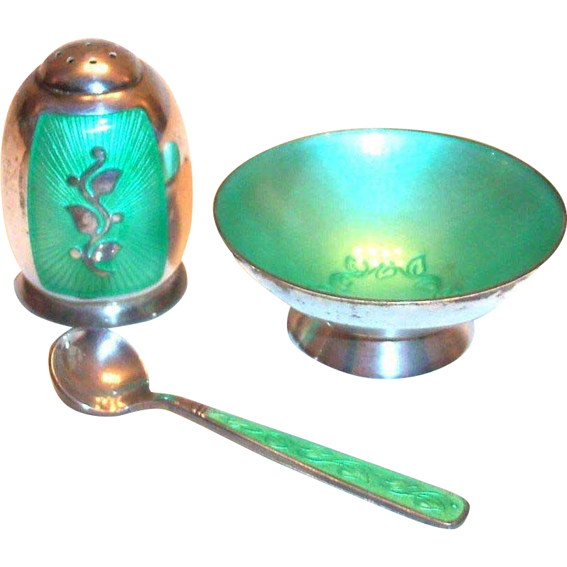 Light Green Enamel Design & Sterling Silver Salt Cellar, Shaker & Spoon