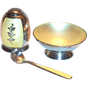 Sterling Silver & Light Yellow Enamel Design 3 Pc Salt Cellar, Shaker & Spoon