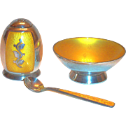Sterling Silver & Darker Yellow Enamel Design 3 Pc Salt Cellar, Shaker & Spoon