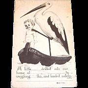 T.P. & Co.: Stork & New Baby Announcement Postcard