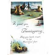 Vintage To Greet You On Thanksgiving Postcard
