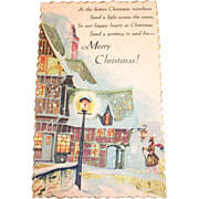 Vintage Merry Christmas, Old English Town Scene, Postcard