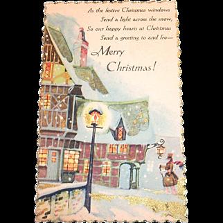 Vintage Merry Christmas, Old English Town Scene, Postcard