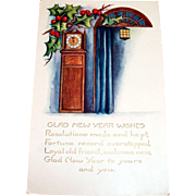 Whitney: Glad New Year Wishes, Grandfather Clock Design Postcard