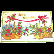 Merry Christmas: Holly & Berry Baskets Design Postcard