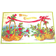 Merry Christmas: Holly & Berry Baskets Design Postcard