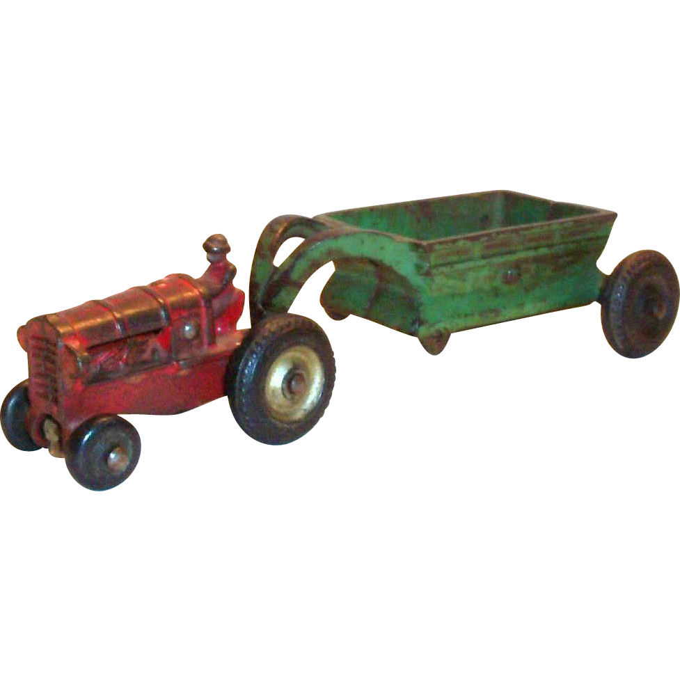 Arcade Cast Iron Toy Tractor & Spreader - 1930's