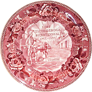 Wedgwood Fort Ticonderoga Bicentennial 1755-1955 Red Transferware Plate