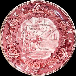 Wedgwood Fort Ticonderoga Bicentennial 1755-1955 Red Transferware Plate