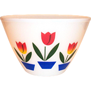 "Fire King Tulips On White 9 1/2""Rd Mixing Bowl"