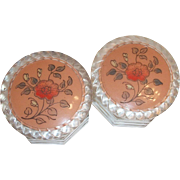 Pair of Floral Design Plastic Topped Octagon Style Glass Vanity Jars