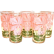 Vintage Pink Orchid & Leaf Design Peanut Butter Glass