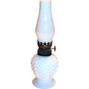 White Milk Glass Miniature Hurricane Lamp
