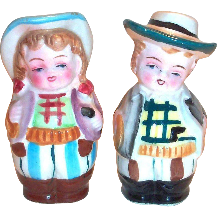 Vintage Cowboy & Girl Hand Painted Porcelain Salt & Pepper Shakers