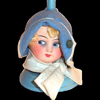 Vintage 1930's Child's Paper Mache Doll Head & Wooden Hat Display