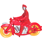 Vintage Auburn Red & Yellow Police Motorcycle Toy