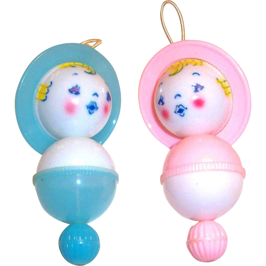 Vintage Celluloid Plastic Toy Baby Doll Rattle/Crib Toy