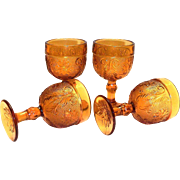 Amber Tiara/Sandwich Glass Stemmed Wine Glass