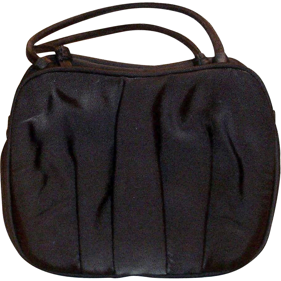 Holzman Black Satin Type Cloth Evening Purse
