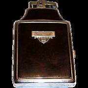 Vintage Ronson Black Enamel Trim On Silver Tone Cigarette Lighter & Case