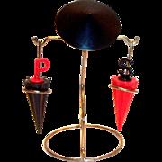 Vintage Metal Oriental Style Stick Person Holding Umbrella Salt & Pepper Shakers