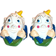 Vintage Chalkware Humpty Dumpty Salt & Pepper Shakers